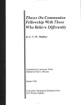 Theses on Communion Fellowship with Those Who Believe Dif.
